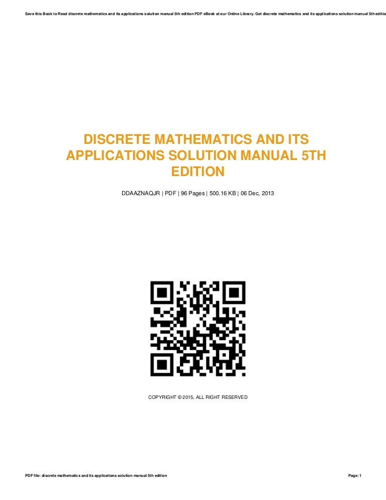 Solutions manuals mathematics ebook array discrete mathematics and its applications solution manual 5th edition rh slideshare fandeluxe Image collections