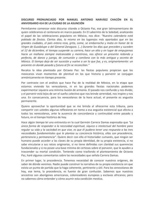 Discurso de Manuel Narváez Chacón en el aniversario 414 de la ciudad de La Asunción
