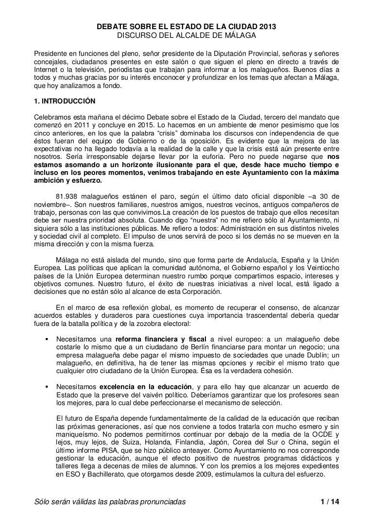 Discurso del alcalde de Málaga en el Debate sobre el Estado de la Ciu…