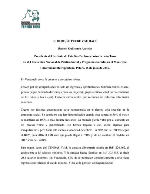 Discurso de instalación de Ramón Guillermo Aveledo