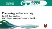 Discussing and Concluding  - Academic Writing in English 2019