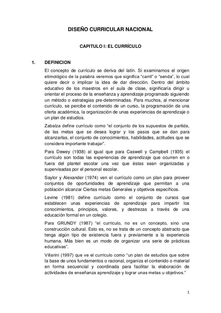 Diseño curricular nacional PERU