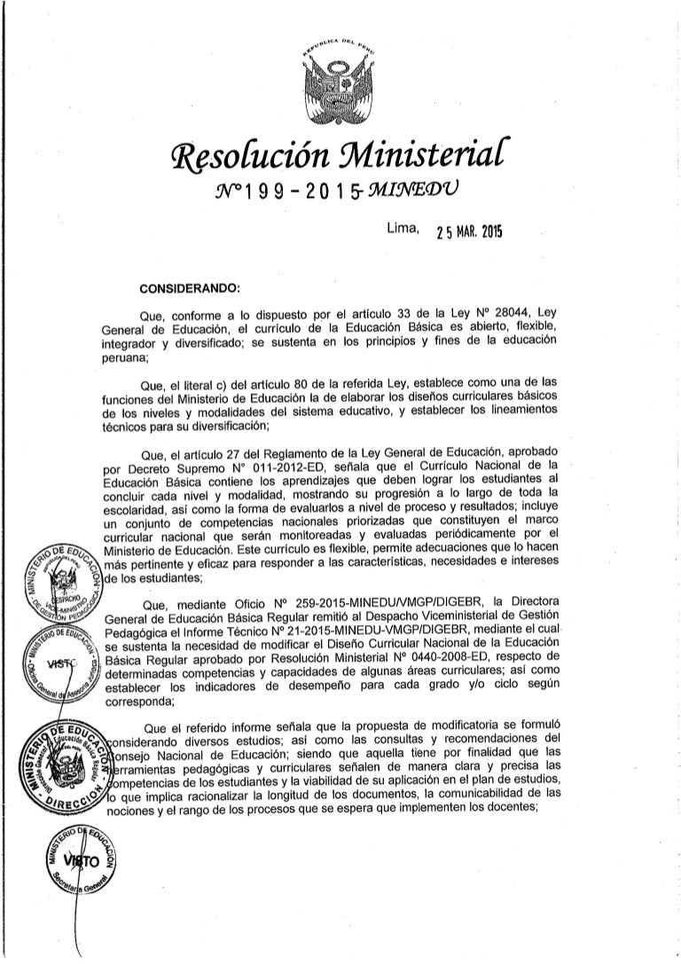 Diseño curricular nacional modificado por rm.nº 199 2015-minedu