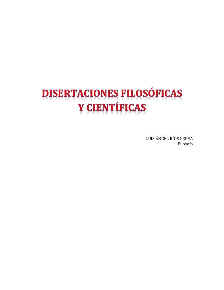 Disertaciones Filosóficas Y Científicas