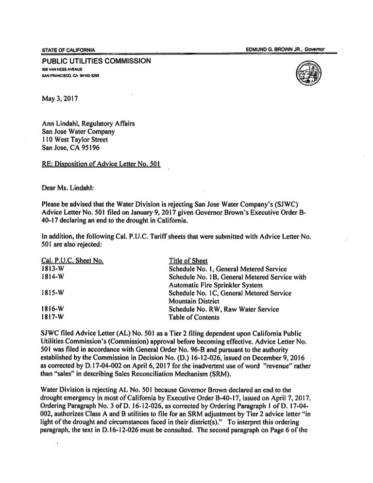 Disposition Of San Jose Water Company'S Advice Letter 501