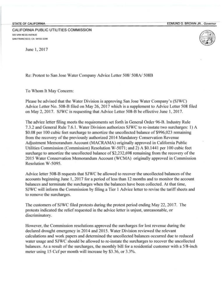 Disposition Of San Jose Water Company'S Advice Letter No. 508 B