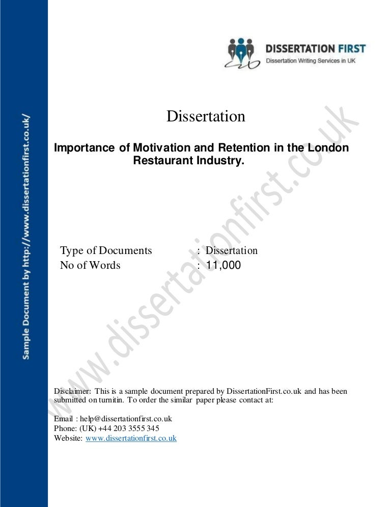 dissertation importance of motivation and retention for london restau