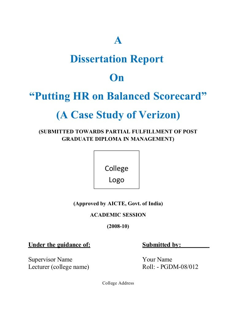Balanced scorecard dissertation