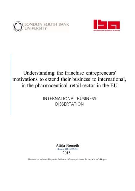 Dissertation for msc biotech
