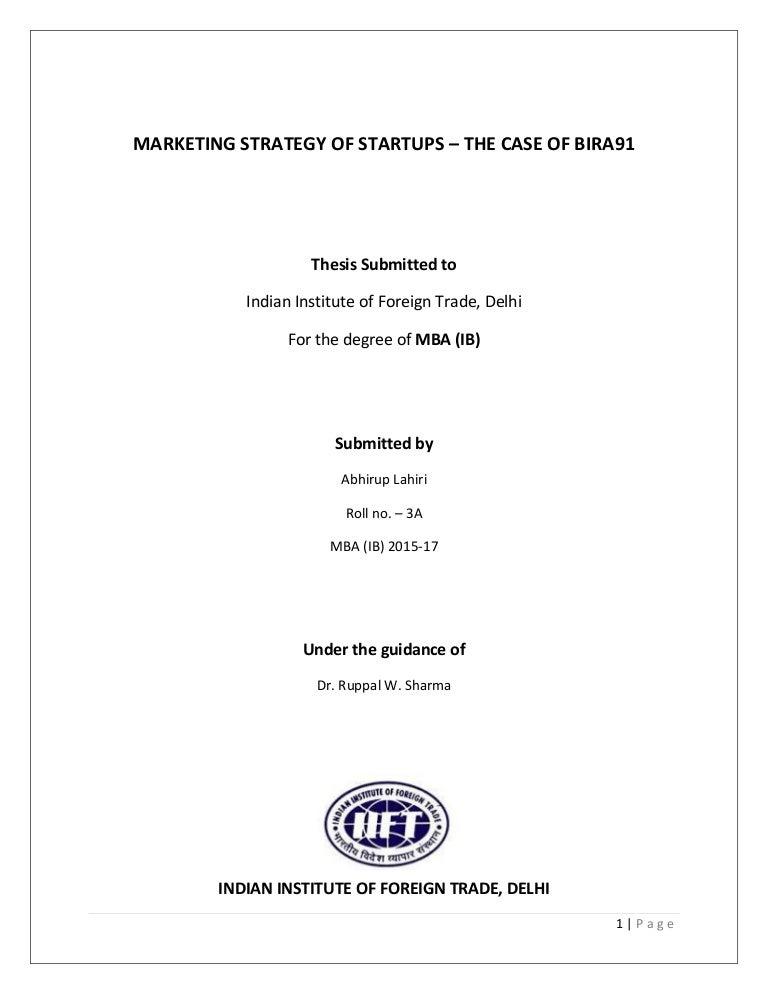 Marketing Strategy of Alcoholic Beverage Start-ups in India