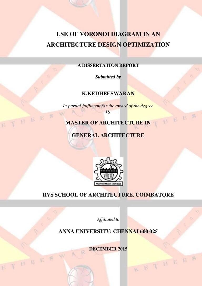 Use Of Voronoi Diagram In An Architecture Design Optimization Generator