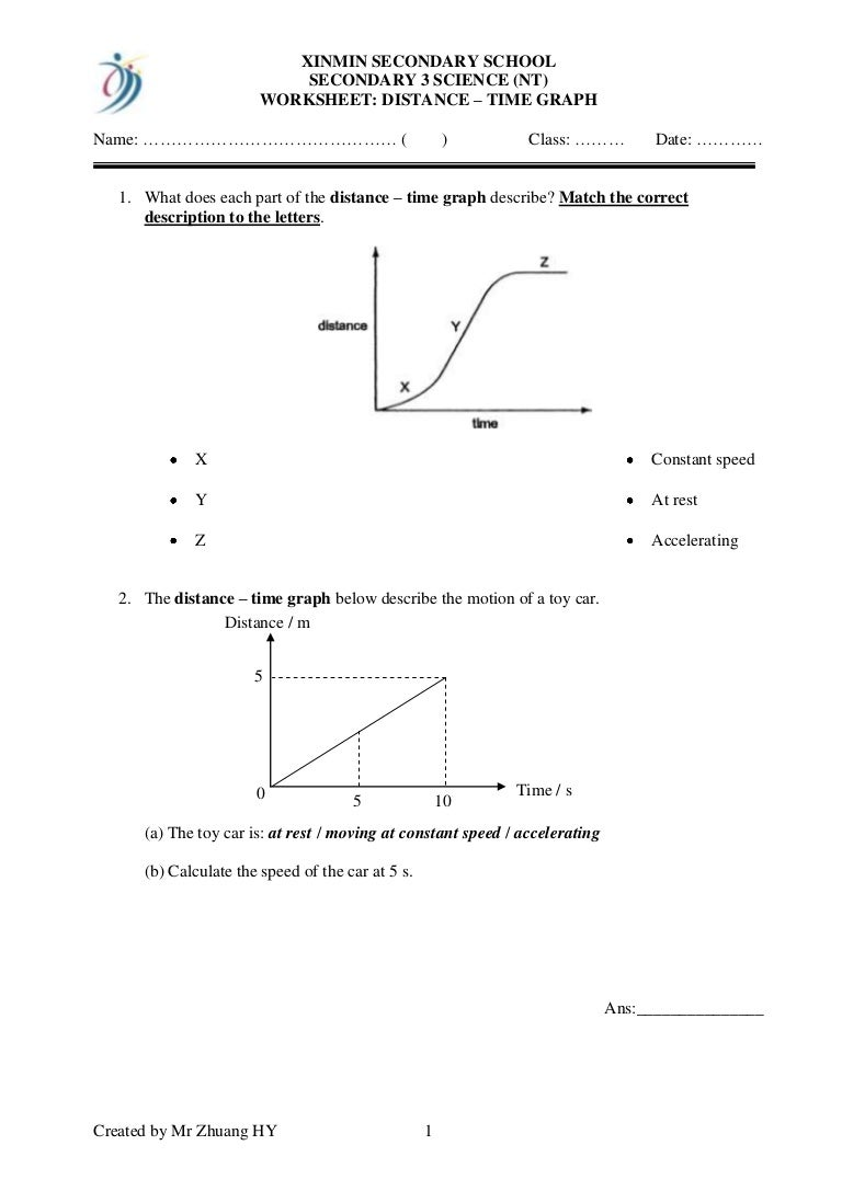 Distance time graphs – Distance Time Graph Worksheet