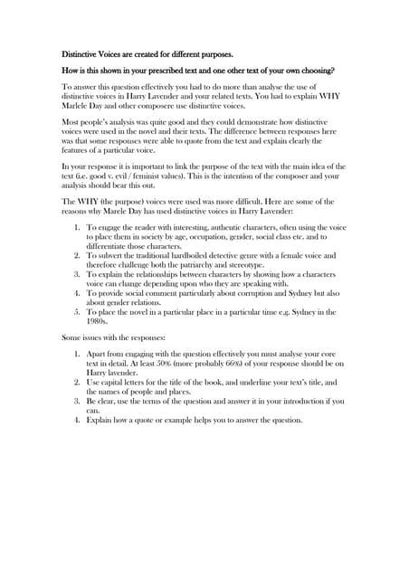 distinctive voices thesis statement