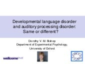 Developmental language disorder and auditory processing disorder: 