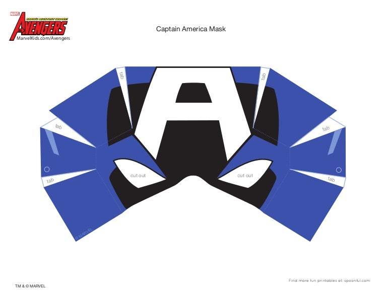 Dramatic image in captain america mask printable