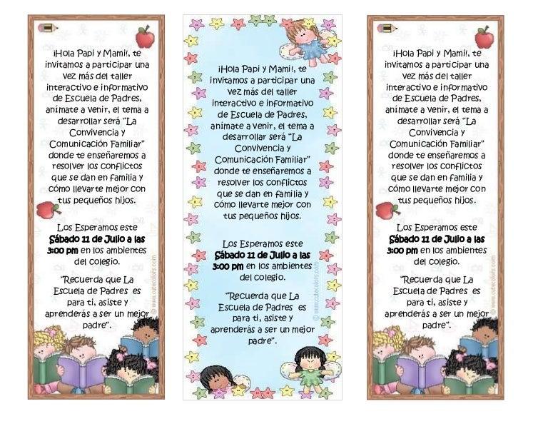 Invitaciones A Escuela De Padres