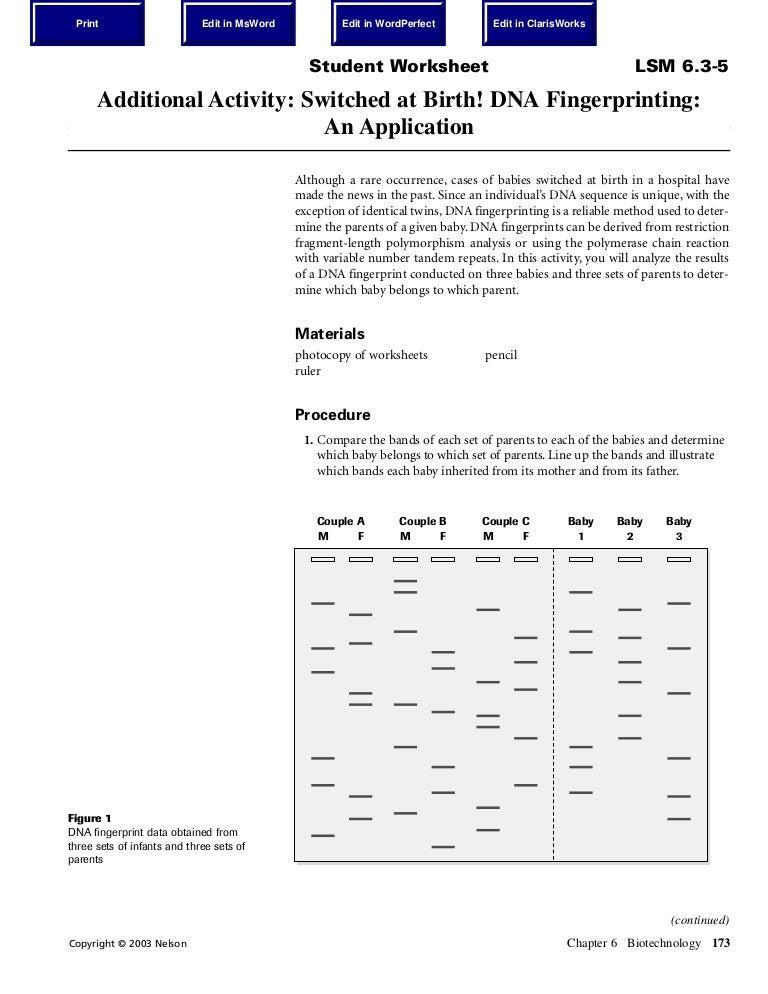 Dna Fingerprint Worksheet Photos - Motorobilia