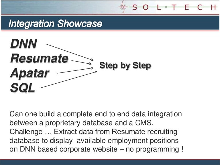 soltech data integration dotnetnuke resumate apatar sql