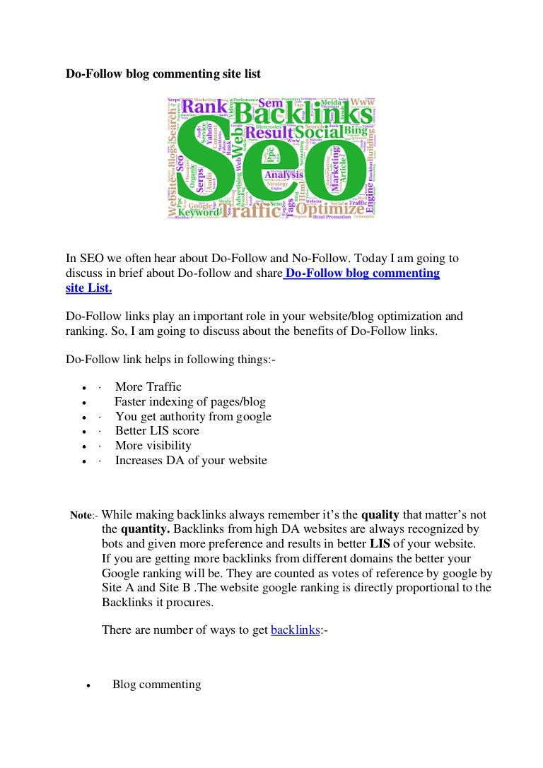 Do follow blog commenting site list  doc