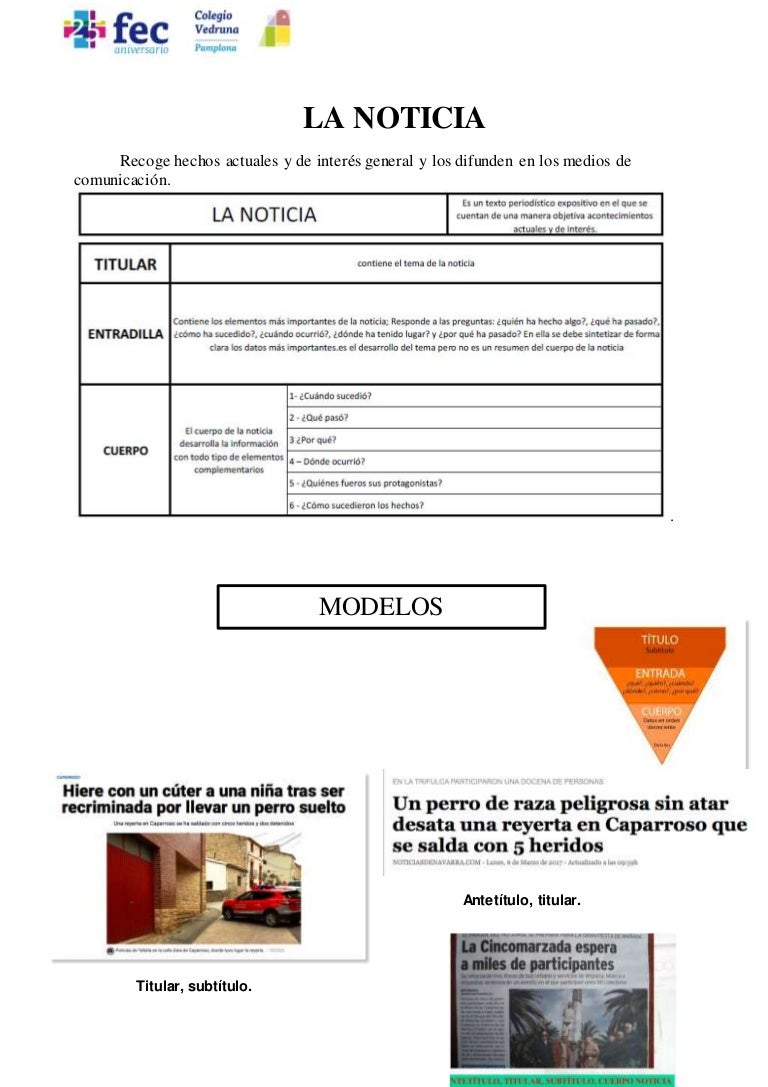 Noticia, entrevista y reportaje 1º ESO