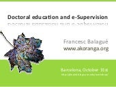 Doctoral education and e-supervision