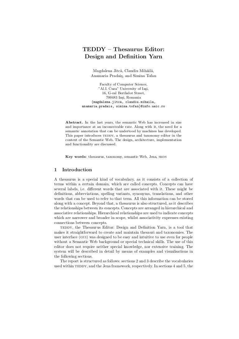 teddy thesaurus editor design and definition yarn