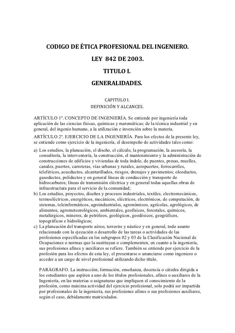 DocumentoCódigo y Etica Profesional del Ingeniero código y etica prof…