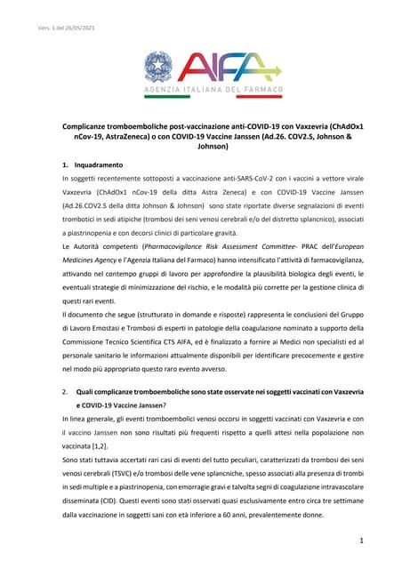 Vaccino Astrazeneca, il documento degli esperti di coagulazione nominati dall'Aifa