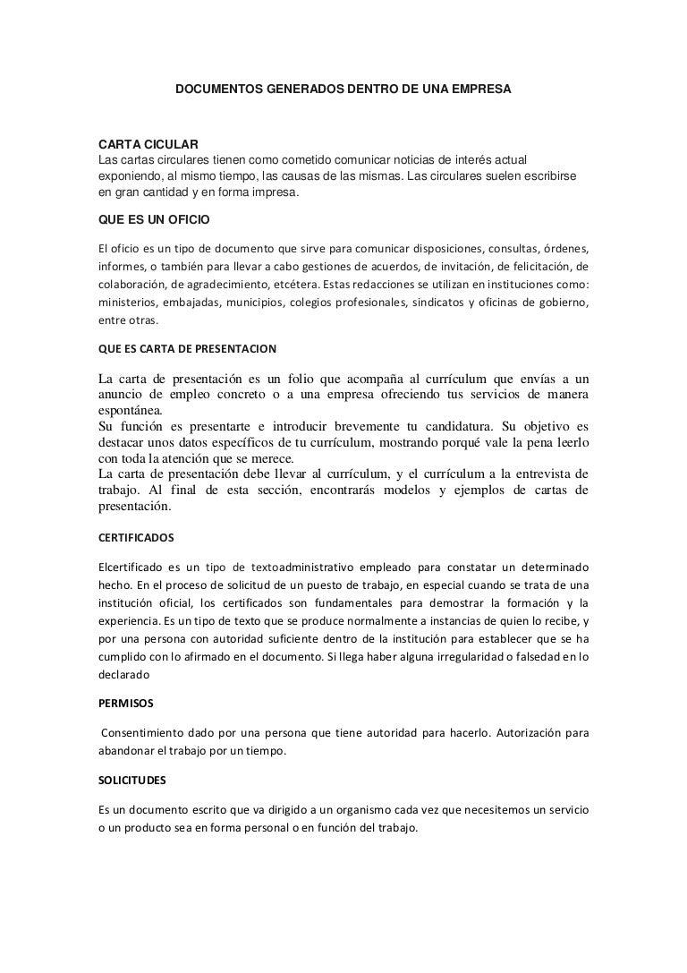 Documentos generados dentro de una empresa