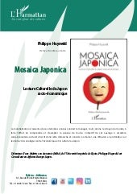 """New Book """"MOSAICA JAPONICA: Lecture Culturelle du Japon socio-économique"""""""