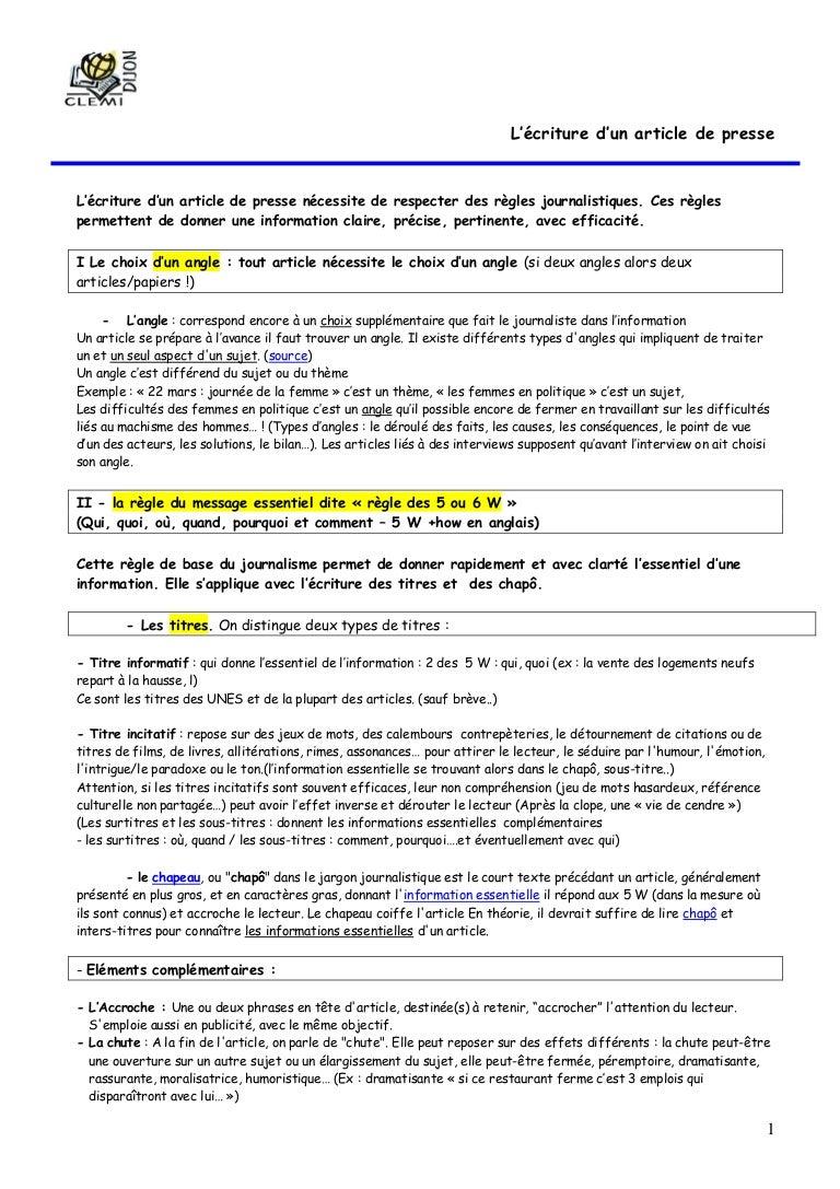 Documents pour créer un journal écriture journalistique