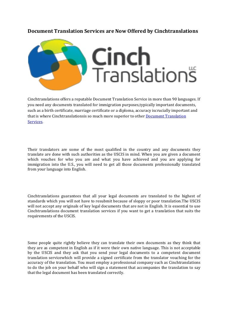 Document translation services are now offered by cinchtranslations xflitez Gallery