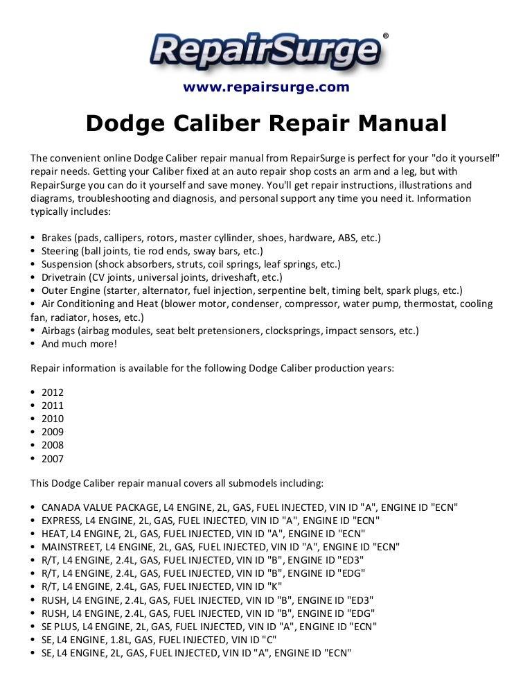 Dodge Caliber Repair Manual 2007-2012SlideShare