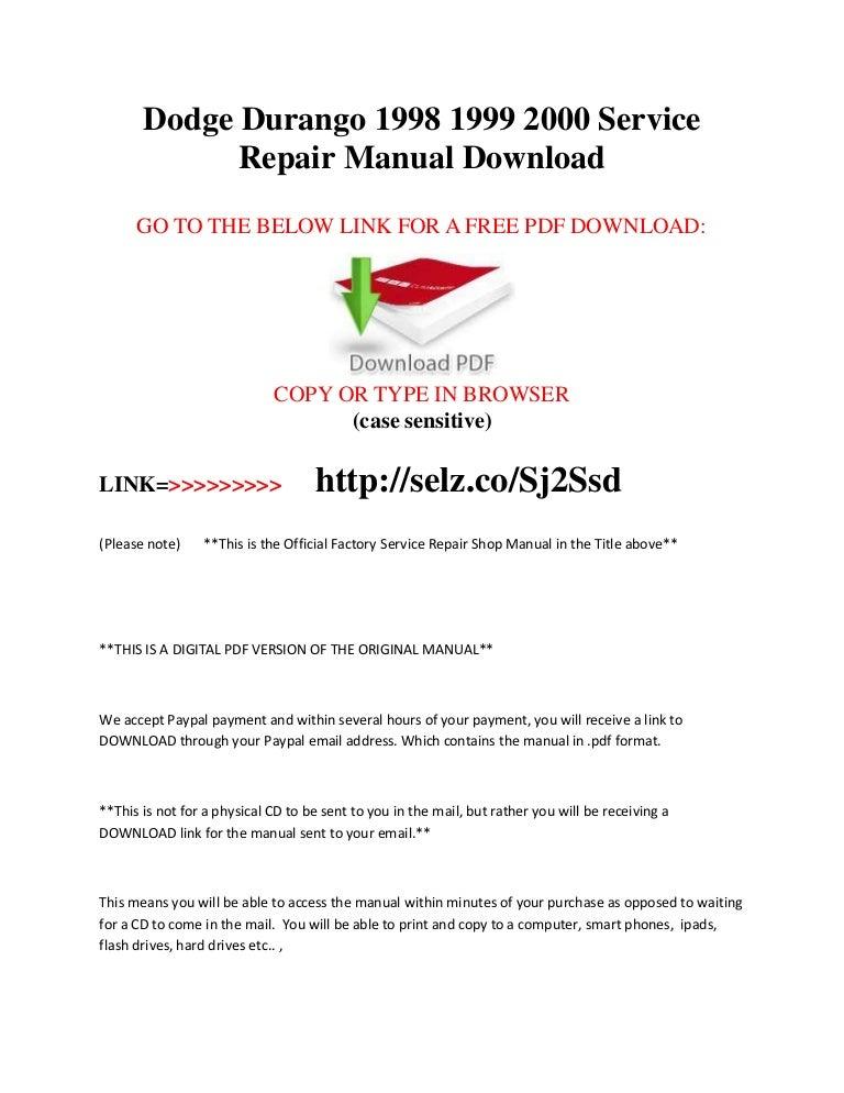 1998 dodge durango service repair manual