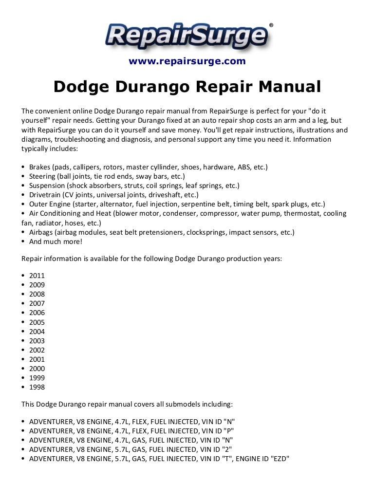dodge durango repair manual 1998 2011 rh slideshare net 2004 dodge durango slt owners manual Stick Shift Dodge Durango