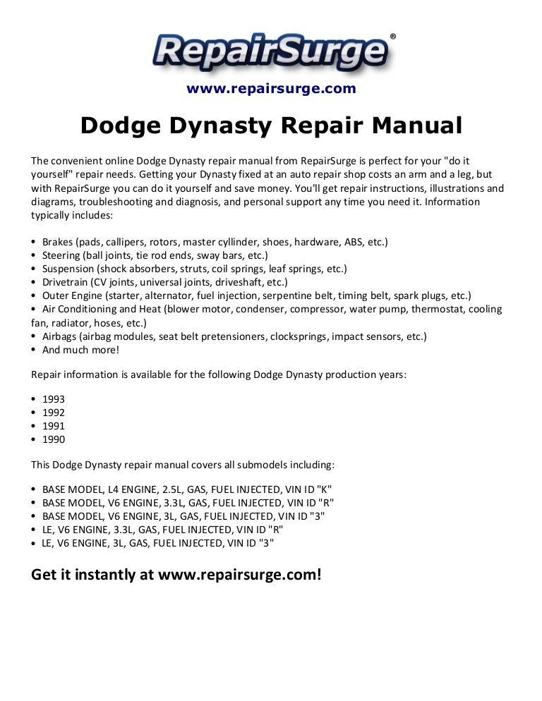 Dodge Dynasty Repair Manual 1990 1993