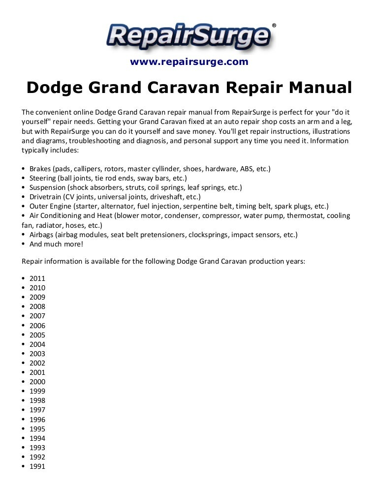 dodge grand caravan repair manual 1990 2011 rh slideshare net 2006 dodge grand caravan repair manual pdf 2006 dodge grand caravan factory service manual