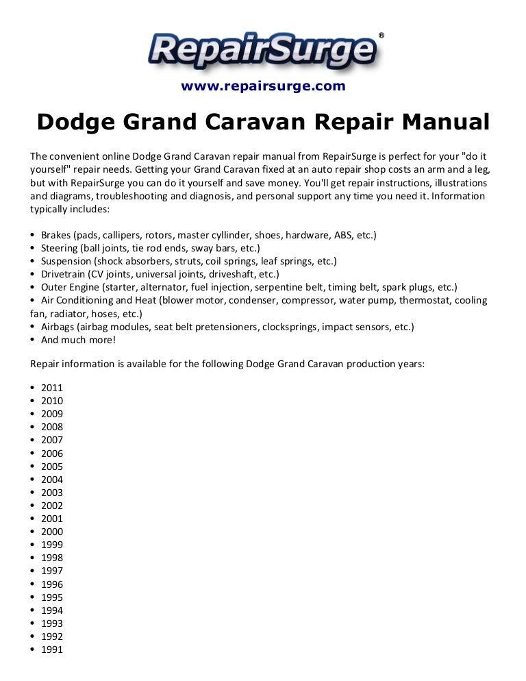 dodge grand caravan repair manual 1990 2011 rh slideshare net 2002 dodge grand caravan owner's manual 2002 dodge grand caravan repair manual pdf
