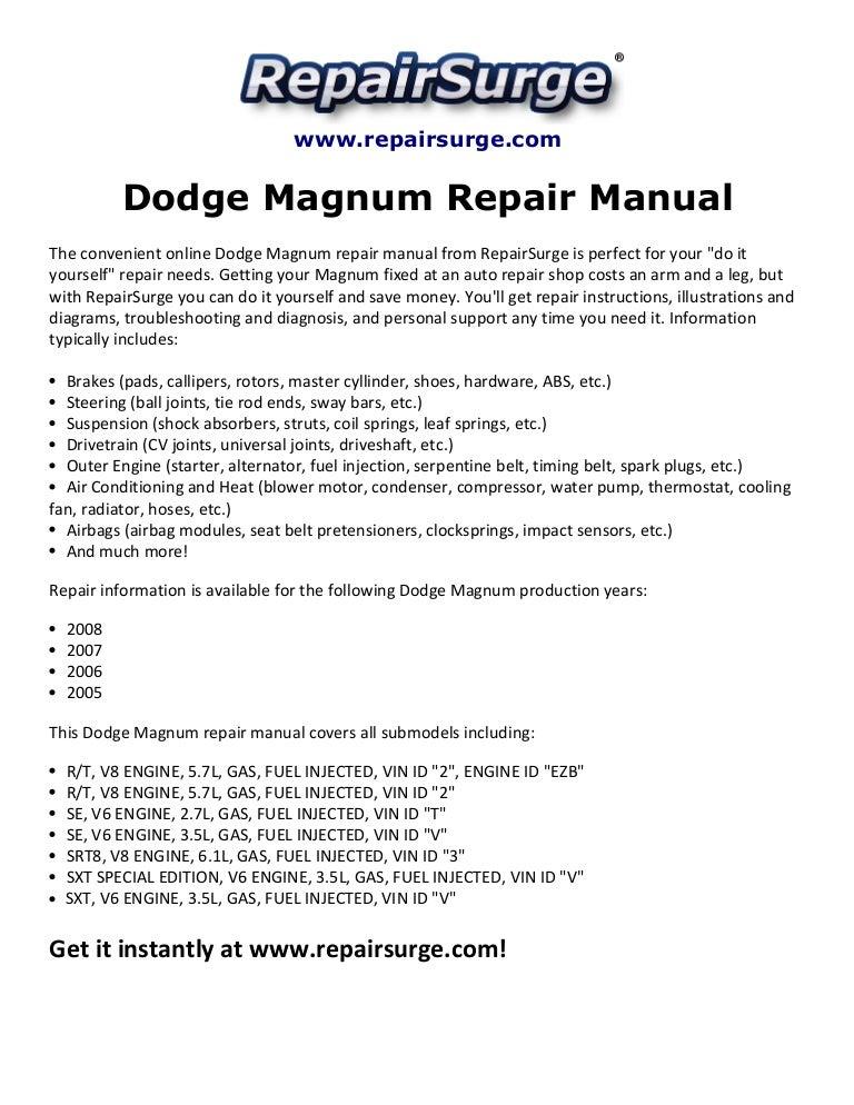 Dodge Magnum Repair Manual 2005-2008SlideShare