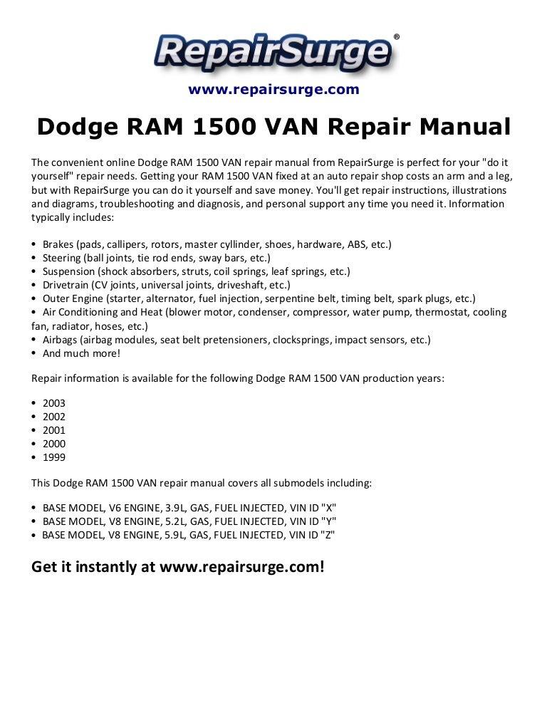 Dodge ram 1500 van repair manual 1999 2003