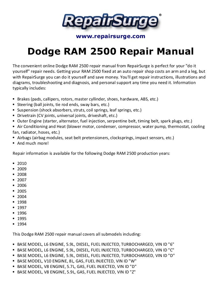 dodge ram 2500 repair manual 1994 2010 rh slideshare net 2001 Nissan Xterra 2001 Nissan Xterra