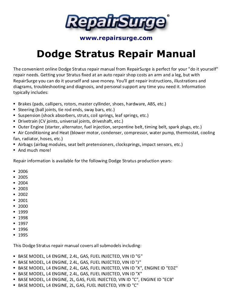 2001 dodge stratus engine diagram dodge stratus repair manual 1995 2006  dodge stratus repair manual 1995 2006