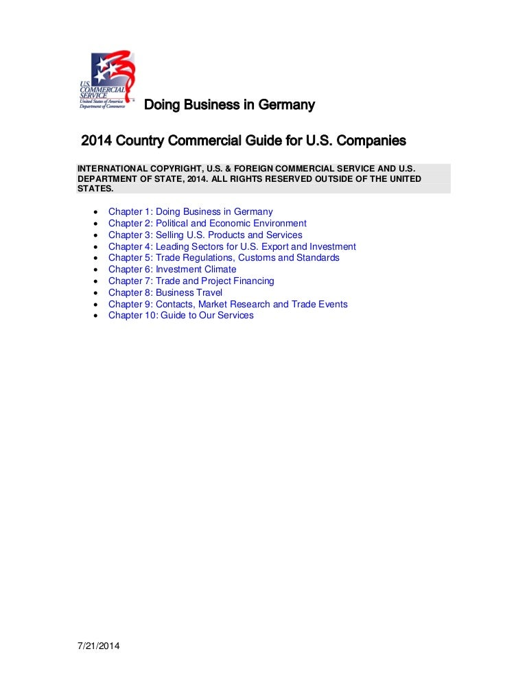 Dr Dev Kambhampati | Doing Business in Germany- 2014 Country