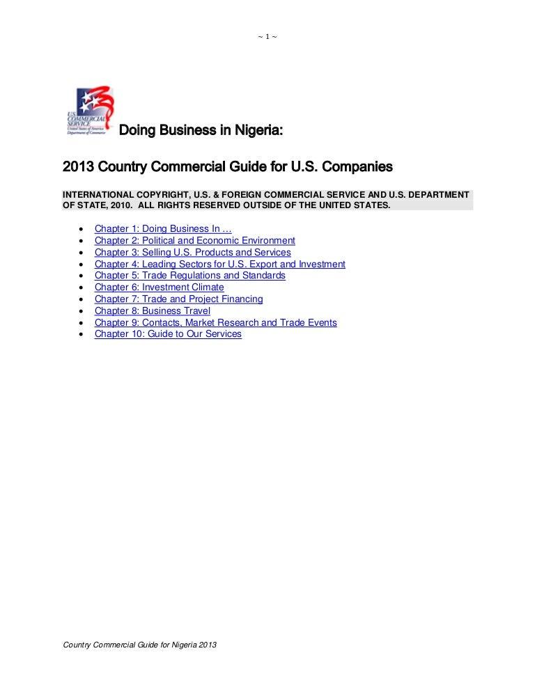 Dr Dev Kambhampati | Doing Business in Nigeria - 2013