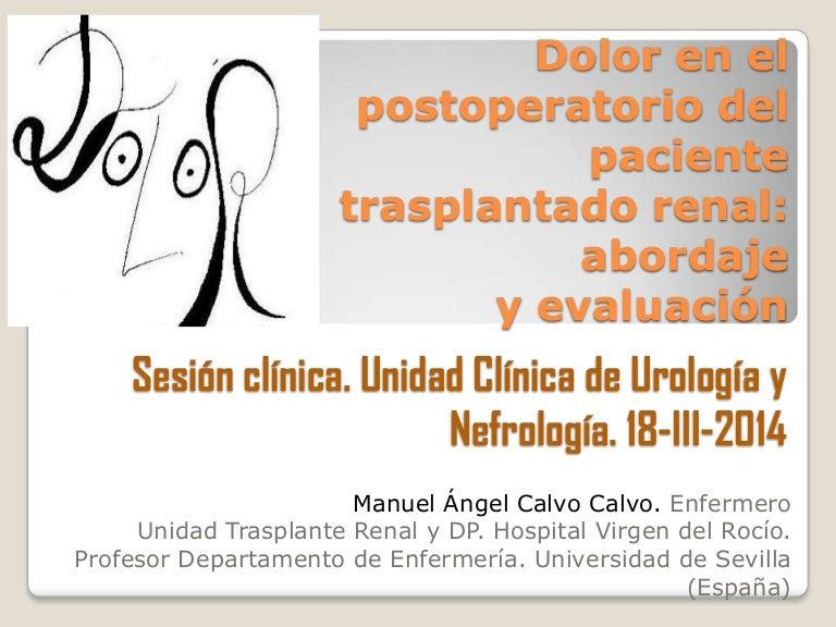 Dolor en el postoperatorio del paciente trasplantado renal..