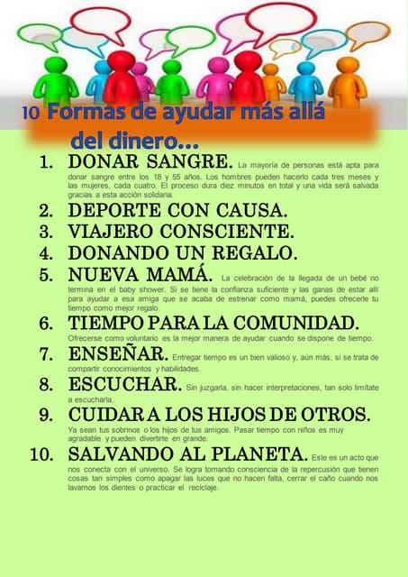 10 FORMAS DE AYUDAR MÁS ALLÁ DEL DINERO...