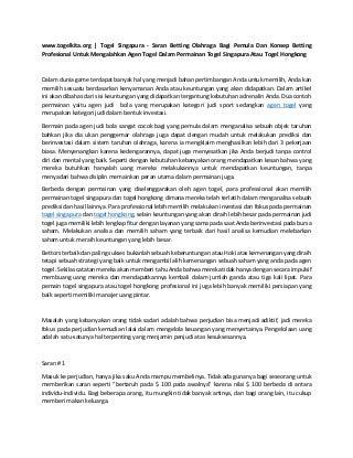 www.togelkita.org togel singapura - saran betting olahraga bagi pemula dan konsep betting profesional untuk mengalahkan agen togel dalam permainan togel singapura atau togel hongkong