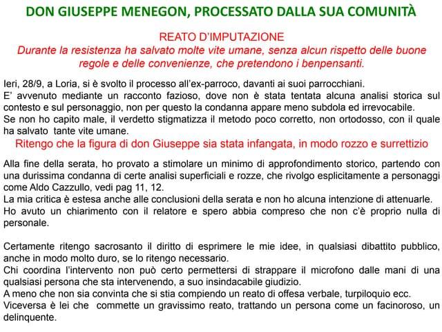 Don Giuseppe Menegon, un intelletto brillante, nel regno delle malombre e delle lumiere