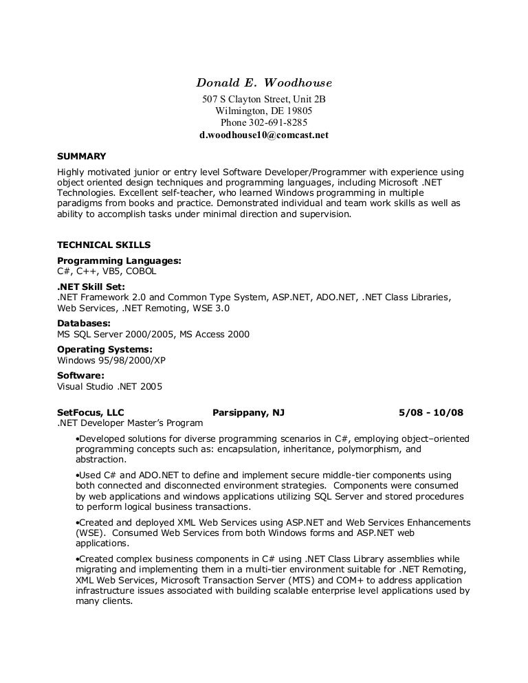Dot Net Resume Samples Yolarnetonic