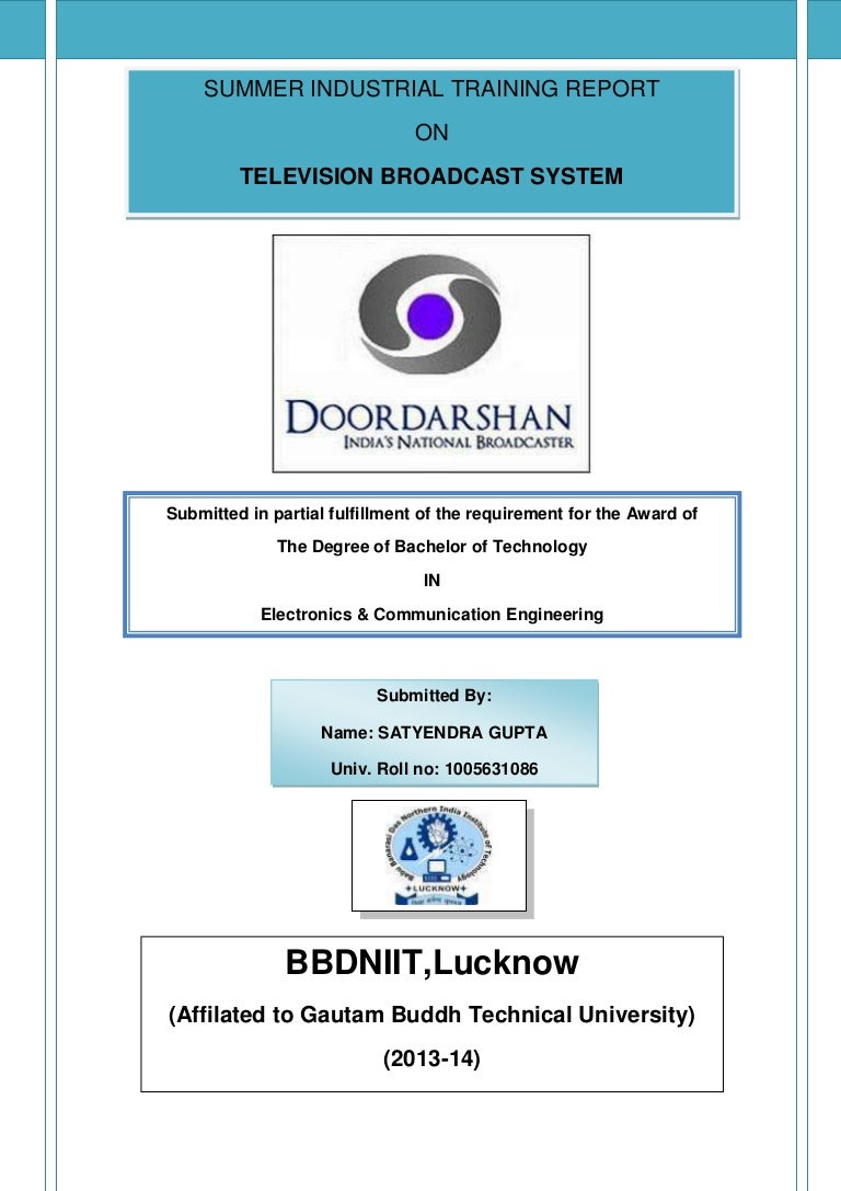 Doordarshan industrial training report – Training Report